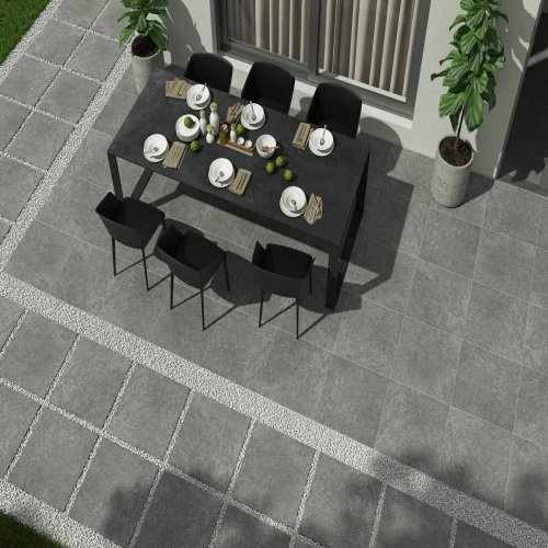 Rockstone Black Outdoor Tiles 60x60x2 cm