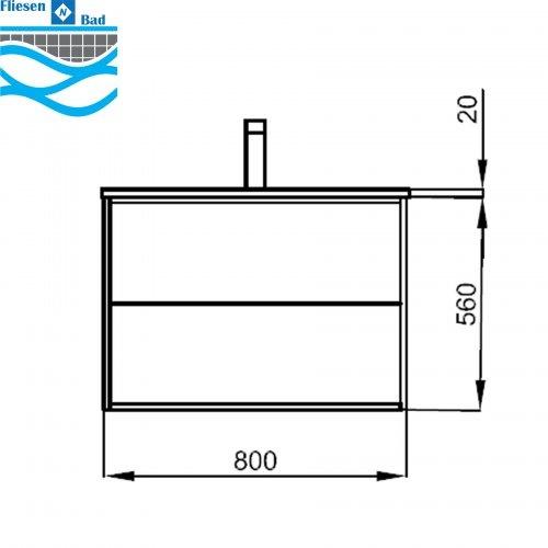 Badmöbel Komplett-Set Vista 800 Mattweiß