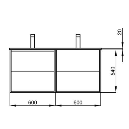 Badmöbel Komplett-Set Vista 1200 Mattschwarz