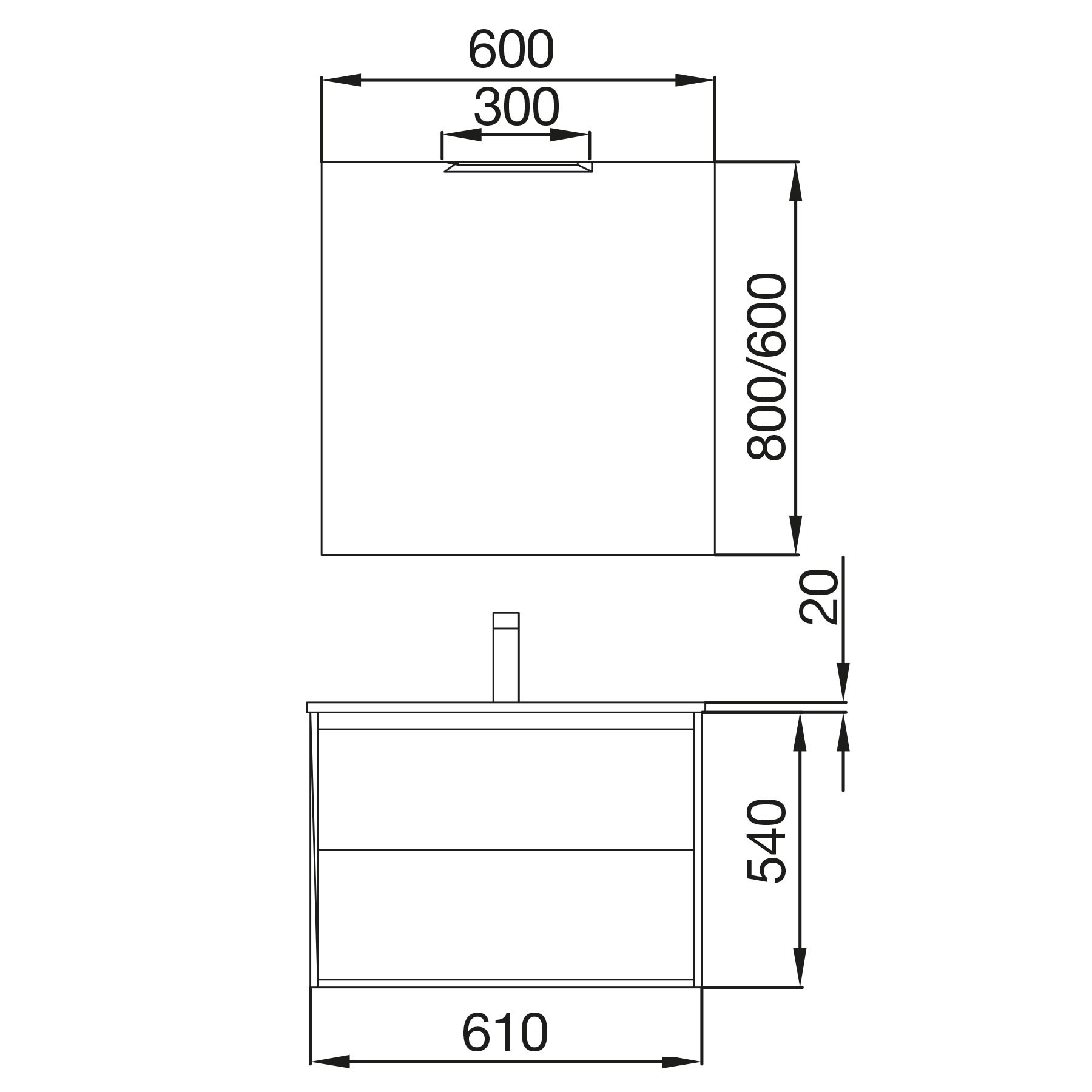 Badmöbel Koja 600 White Glossy 1 Schublade