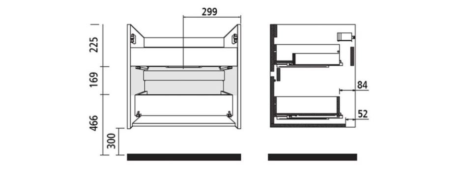 Badmöbel Komplett-Set Koja 600 Matt Grey