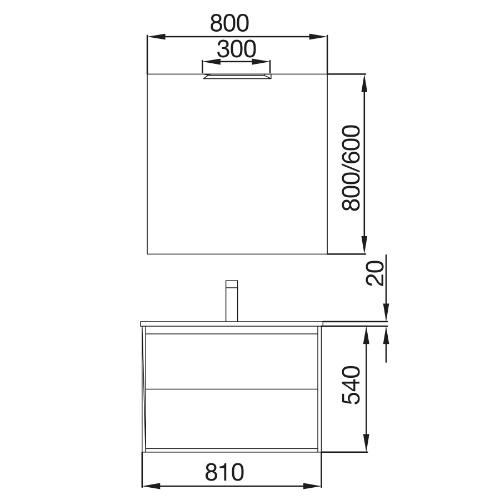 Bathroom Complete set Koja 800 Natural Oak 1 drawer