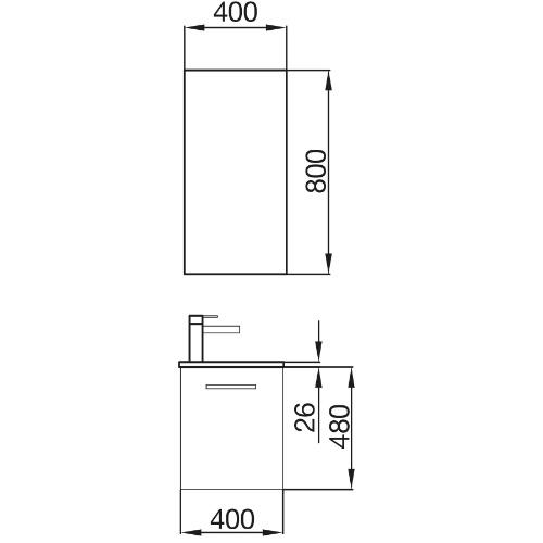 Badkamermeubel Mini 400 Matt Grey