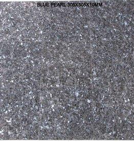Blue Pearl Dalles en granit poli, chanfrein, calibré, 1ère qualité premium de choix dans 30,5x30,5x1 cm