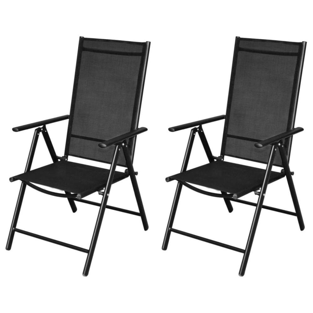 Zwarte Aluminium Tuinstoelen.Vidaxl Tuinstoelen Inklapbaar 2 St Aluminium En Textileen Zwart