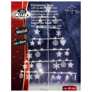 Metalen kerstboom 80cm 31 LED's