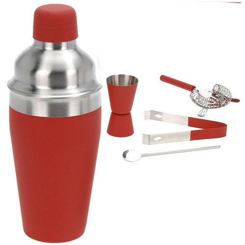 Excellent Houseware. Cocktailshakerset 5 dlg rood