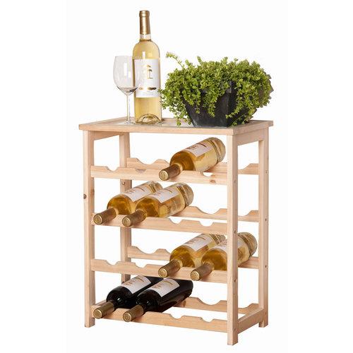 Houten wijnrek voor 16 flessen