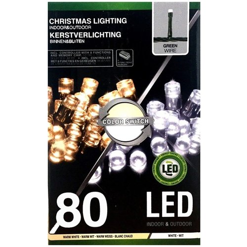 Verlichting 80 LED's Color Switch wit - warmwit