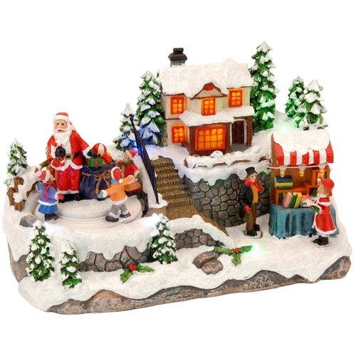 Kersttafereel met bewegende Santa