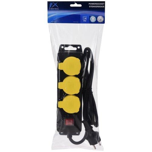 FXcontrol Stekkerdoos 3-voudig spatwaterdicht 3x1.5mm2 Randaarde
