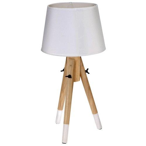 Houten lamp met stoffen kap wit