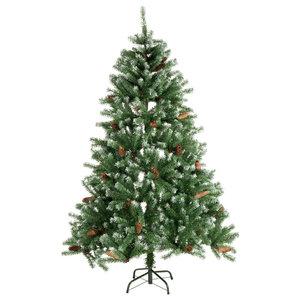 Kerstboom. 150cm 415 tips met sneeuw en dennenappels