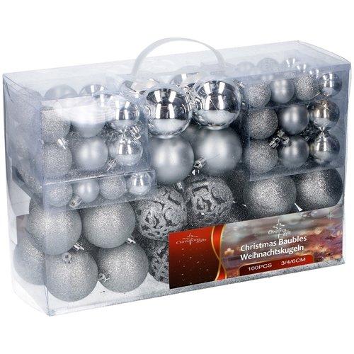Christmas Gifts Kerstballenset - 100 plastic ballen - zilver