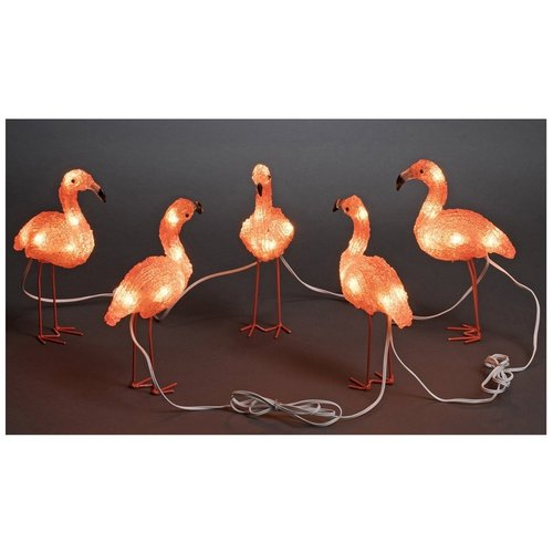 Konstsmide LED Lichtsnoer 5 meter, met 5 acryl flamingo's, warm wit