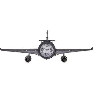 Home & Styling Retro wandklok vliegtuig metaal - grijs - 143x20x46 cm