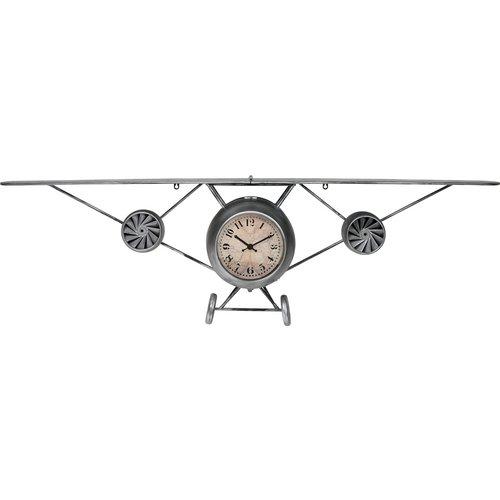 Home & Styling Retro wandklok vliegtuig metaal - zilvergrijs - 150x24x43cm