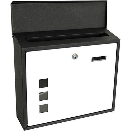 Kynast Metalen brievenbus - zwart/wit - met vensters