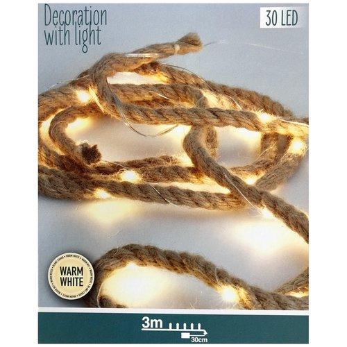 Ceruzo 4 stuks Jute touw met ledverlichting - 3 meter