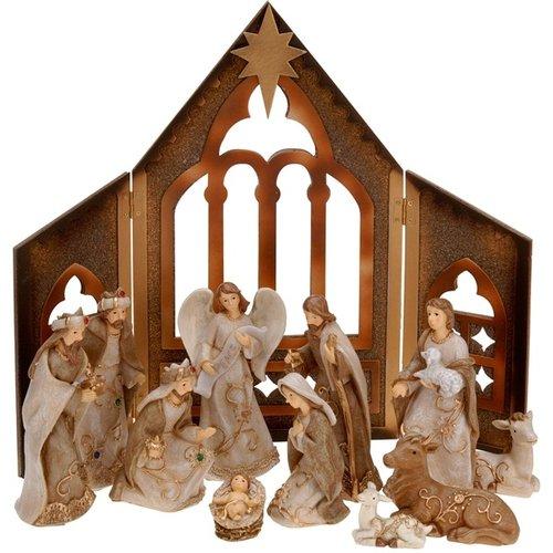 Kerststal met 11 figuren