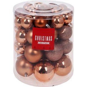 Kerstballenset - 44 stuks plastic - bruin