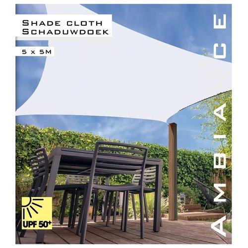 Ambiance Schaduwdoek vierkant 5x5m - wit