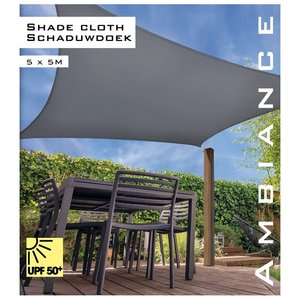 Ambiance Schaduwdoek vierkant 5x5m - grijs