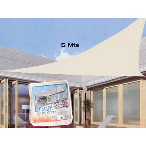 Schaduwdoek - driehoek 5x5x5m - creme