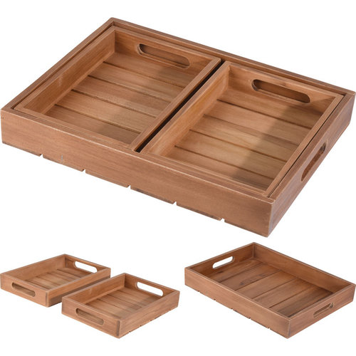 Ceruzo Dienbladen - hout teak - set van 3