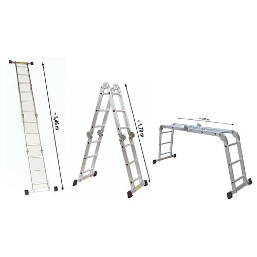 Alu-Werkladder met werkplatform - 4x3 treden