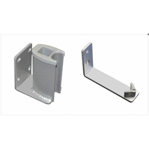 Leco Oprolbaar windscherm accessoire, 2 delige wandbevestiging - Zilver/grijs
