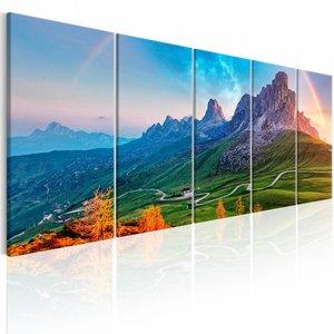 Schilderij - Regenboog in de Alpen - 5 Luik , blauw groen