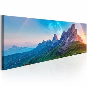 Schilderij - Regenboog in de Alpen , blauw groen , 1 luik