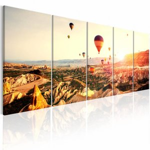 Canvas Schilderij - Luchtballon - 5 luik , blauw bruin , 2 maten
