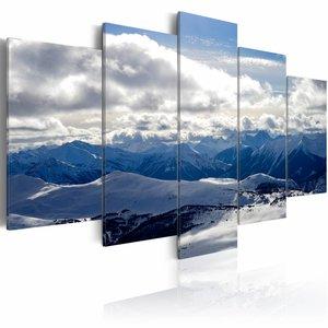 Schilderij - In de Wolken, Blauw/Wit, 5luik