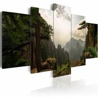 Schilderij - Prachtig Uitzicht, Groen/Bruin, 5luik