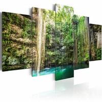 Schilderij - Waterval van Bomen, Groen/Bruin, print op canvas, 5luik