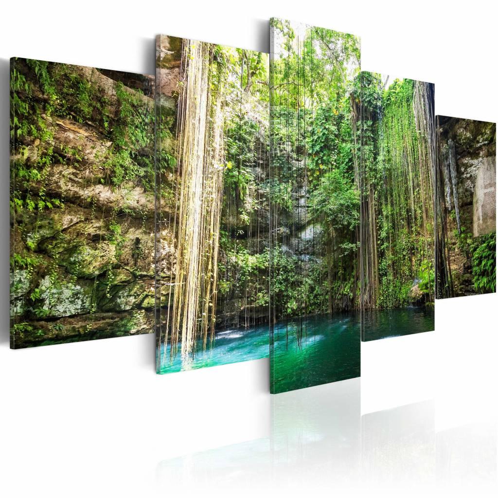 Schilderij - Waterval van Bomen, Groen/Bruin, 5luik