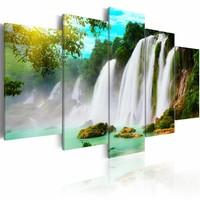 Schilderij - Waterval, Blauw/Groen/Wit, wanddecoratie, 5luik , premium print op canvas