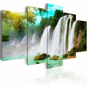 Schilderij Waterval, blauw/groen/wit, 5luik, 2 maten