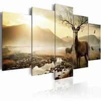 Schilderij - Hert op de Toendra, wanddecoratie, print op canvas, 5luik