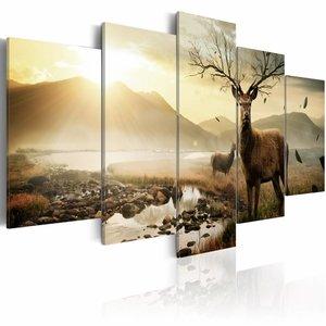 Schilderij Hert op de toendra, 5luik, 2 maten, bruin/beige