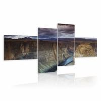 Schilderij - Marble Canyon,Bruin/Blauw, 4luik