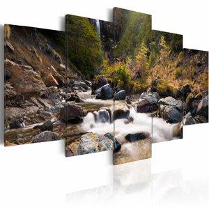 Schilderij - Waterval midden in de wilde natuur, groen/bruin, 5luik, 2 maten