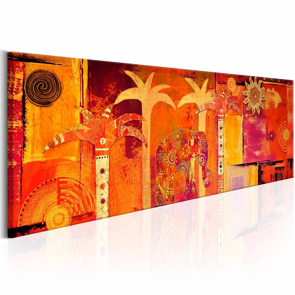 Schilderij - Afrika collage , oranje