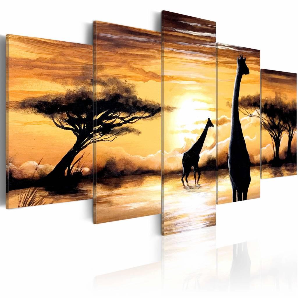 Schilderij - Mooi Afrika, Giraffe, Geel, 5luik, wanddecoratie
