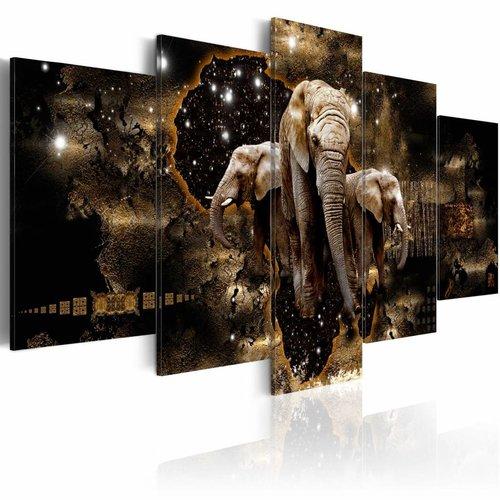 Schilderij - Olifanten op pad, Zwart/Goud, 5luik