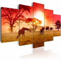 Schilderij - Zonnige kleuren van Afrika, Geel/Rood, 2 Maten, 5luik