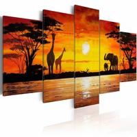 Schilderij - Hot Safari, Afrika, Oranje/Geel, 2 Maten 5luik