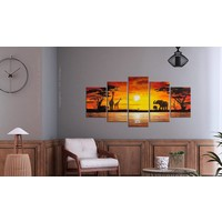 Schilderij - Hot Safari - Afrika, Oranje/Geel, 5luik, wanddecoratie
